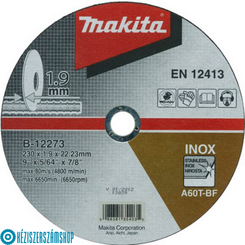 Makita B-12273 Vágótárcsa 230/1,9mm