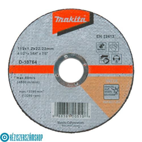 Makita D-18764 Vágókorong 115x1,2mm, inox